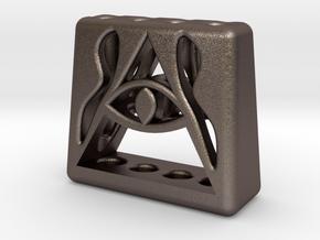 Illuminati 4 Pen Holder in Polished Bronzed Silver Steel