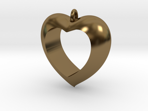 Heart Pendant #4 in Polished Bronze