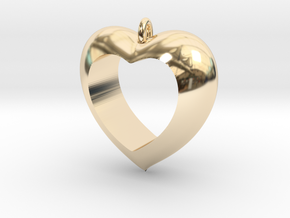 Heart Pendant #4 in 14k Gold Plated Brass