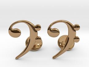 Bass Clef Cufflinks in Polished Brass