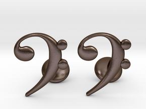 Bass Clef Cufflinks in Polished Bronze Steel