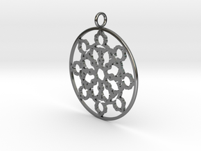 Mandelbrot Web Pendant in Fine Detail Polished Silver