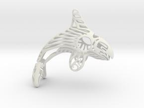 Alaskan Orca Ornament in White Natural Versatile Plastic