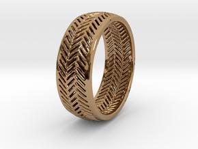Herringbone Ring in Polished Brass