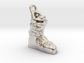Ski Boot Charm in Rhodium Plated Brass