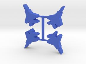 Blue Force, Eagle Fighter Meeple, 4-set in Blue Processed Versatile Plastic