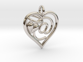 HEART @ in Rhodium Plated Brass