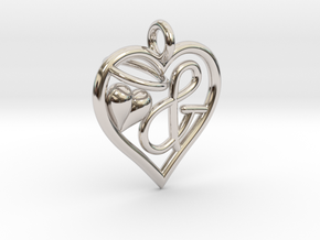 HEART & in Rhodium Plated Brass