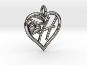 HEART H in Fine Detail Polished Silver