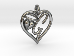 HEART G in Fine Detail Polished Silver