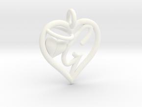 HEART G in White Processed Versatile Plastic