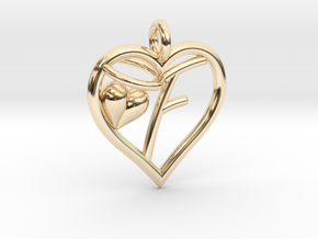 HEART F in 14k Gold Plated Brass