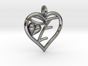 HEART E in Fine Detail Polished Silver