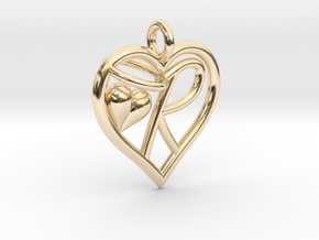 HEART R in 14K Yellow Gold