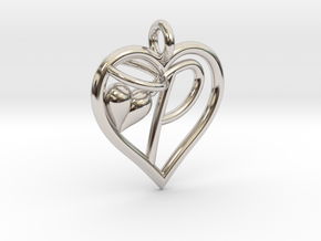 HEART P in Rhodium Plated Brass