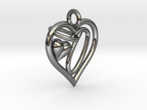 HEART O in Fine Detail Polished Silver