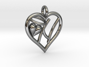 HEART N in Fine Detail Polished Silver
