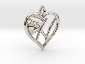 HEART N in Rhodium Plated Brass