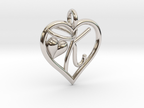 HEART K in Rhodium Plated Brass