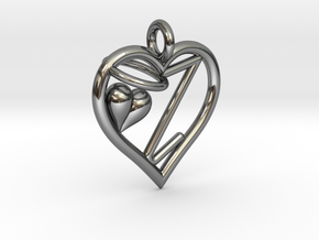 HEART Z in Fine Detail Polished Silver