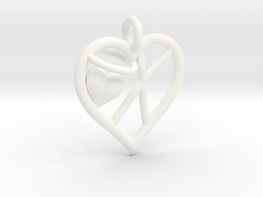 HEART X in White Processed Versatile Plastic