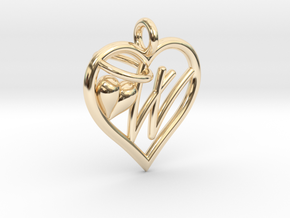 HEART W in 14k Gold Plated Brass