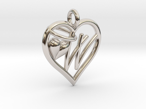 HEART W in Rhodium Plated Brass