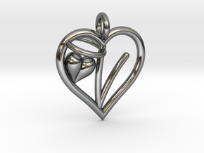 HEART V in Fine Detail Polished Silver