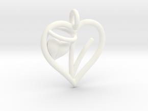 HEART V in White Processed Versatile Plastic