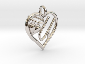 HEART U in Rhodium Plated Brass