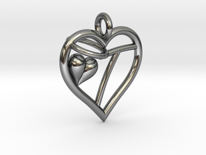 HEART T in Fine Detail Polished Silver