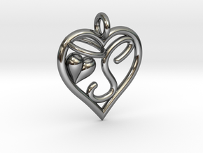 HEART S in Fine Detail Polished Silver