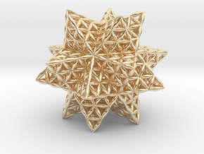 Flower Of Life Stellated Icosahedron in 14k Gold Plated Brass