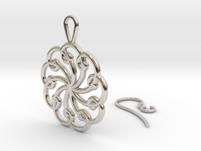 Fibonacci Earring 9 in Rhodium Plated Brass