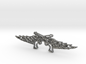 Pistol Wings Pendant in Fine Detail Polished Silver
