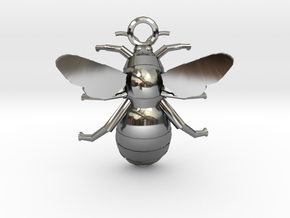 Bumblebee Pendant in Fine Detail Polished Silver