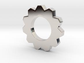 Small Cog Pendant  in Platinum