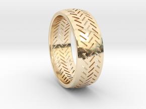Herringbone Ring Size 6 in 14K Yellow Gold