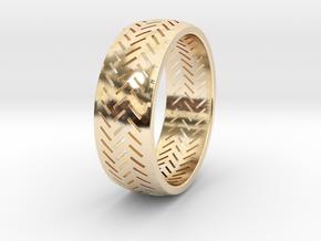 Herringbone Ring Size 7.5 in 14K Yellow Gold