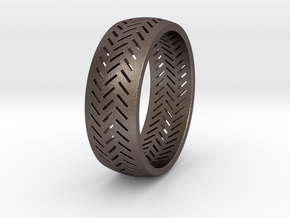 Herringbone Ring Size 7.5 in Polished Bronzed Silver Steel