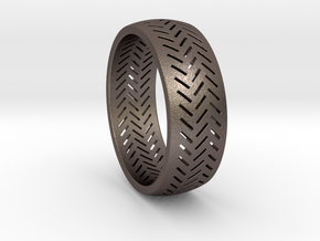 Herringbone Ring Size 12 in Polished Bronzed Silver Steel