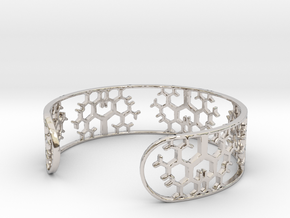 Geometric Tree Bracelet 7in (18cm) in Rhodium Plated Brass