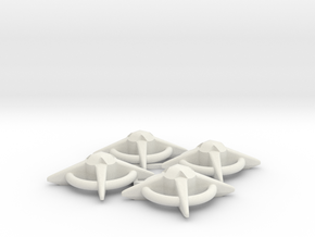 Terran Starbases - Pack of 4 (Connected) in White Natural Versatile Plastic