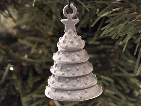 Aluminum Christmas Tree Ornament With Moving Parts in Gray PA12