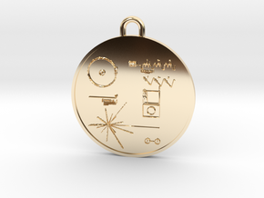 Voyager I Golden Record Pendant in 14k Gold Plated Brass