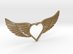 Wing-01 Necklace in Polished Gold Steel