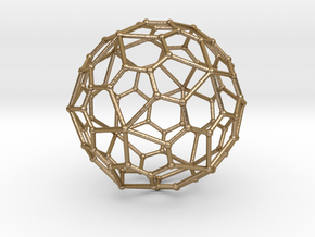 0320 Pentagonal Hexecontahedron V&E (a=1cm) #002 in Polished Gold Steel