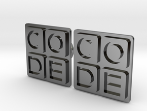 Code.org Cufflinks in Fine Detail Polished Silver