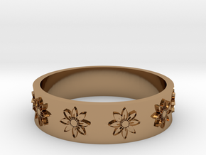 flower ring in Polished Brass