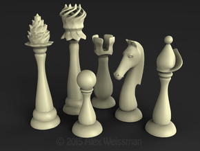 Slender Chess Pieces, 1/2 set in White Processed Versatile Plastic